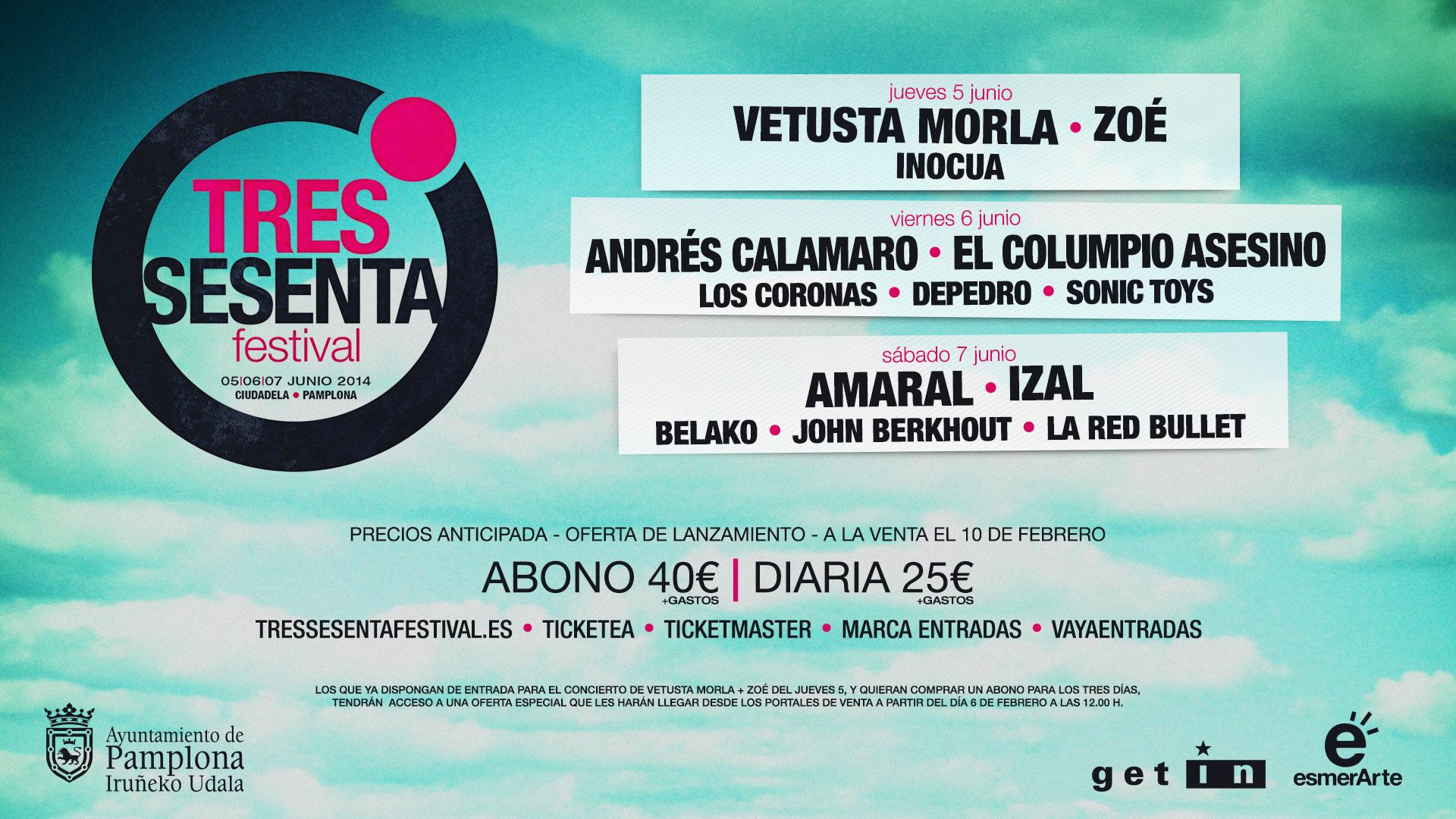Tres Sesenta Festival anuncia su cartel para 2014.